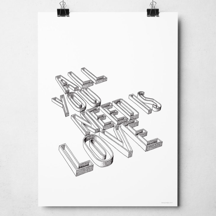 All You Need is Love Print from Sketchbook Design. Hand drawn typography print inspired by The Beatles song.