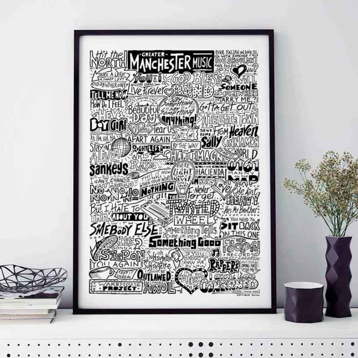 Manchester Music Print inspired by the iconic bands and musicians to come from Greater Manchester. Manchester Band Poster is a hand drawn typography illustration