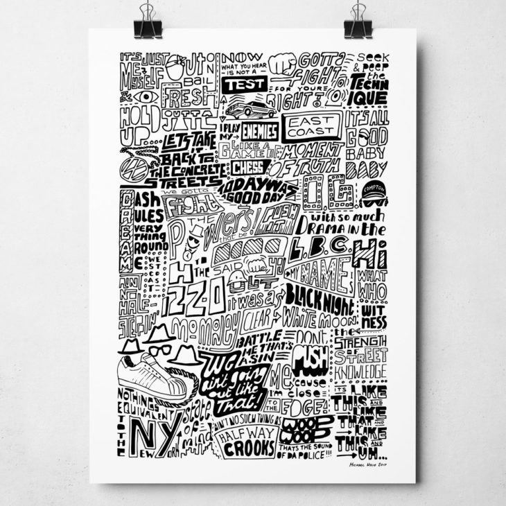 The History of Rap Music Print. Hand-drawn typography design from Sketchbook Design
