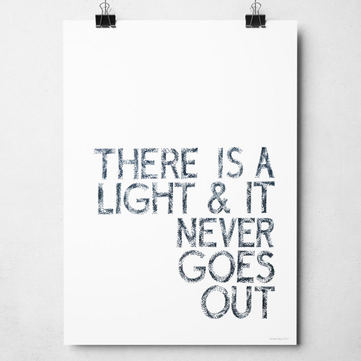 The Smiths There is a Light Print. Music inspired typography print from Sketchbook Design