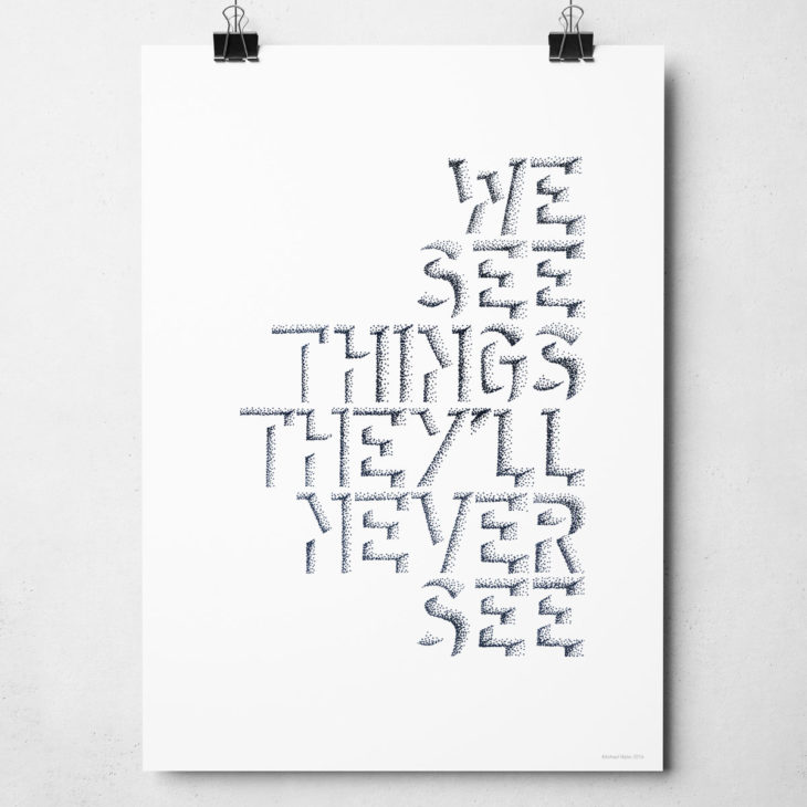 Oasis Live Forever Print. We See Things They'll Never See. Typography print from Sketchbook Design