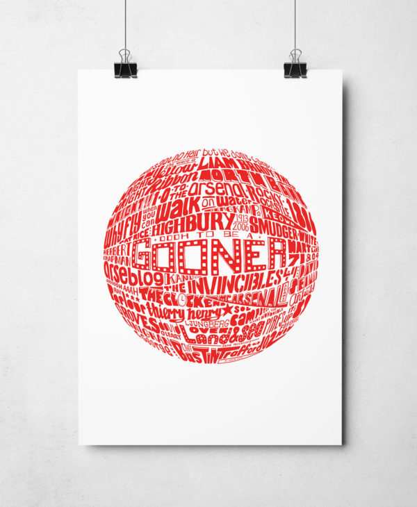 Arsenal football Print Original Football typography Artwork