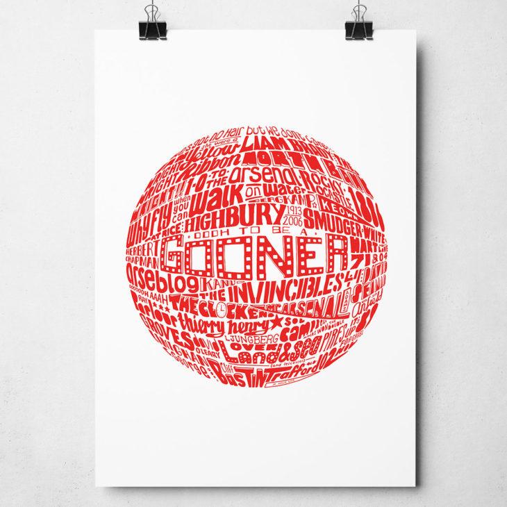 Arsenal football Print Original Football typography Artwork