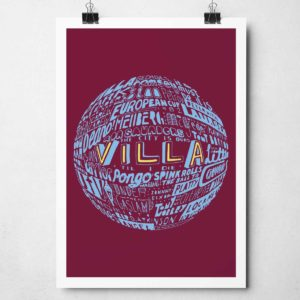 Aston Villa Football Print. Hand drawn Aston Villa football typography design from Sketchbook Design