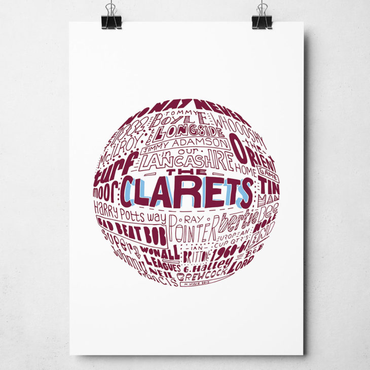 Burnley football print. Hand-drawn Burnley Typography Design from Sketchbook Design