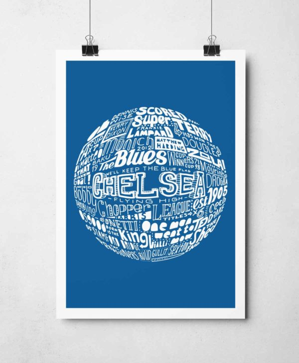 Chelsea Football Print. Hand drawn Chelsea Football typography print from Sketchbook Design