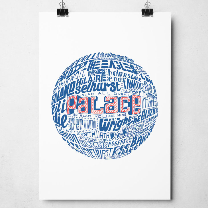 Crystal Palace football print. Hand drawn football typography print from Sketchbook Design