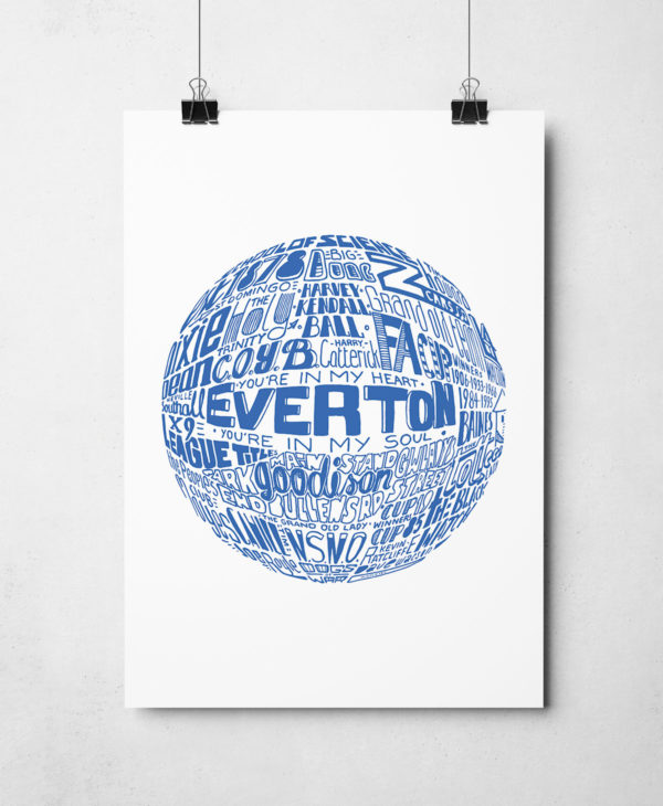 Everton football print. Hand-drawn football typography artwork from Sketchbook Design