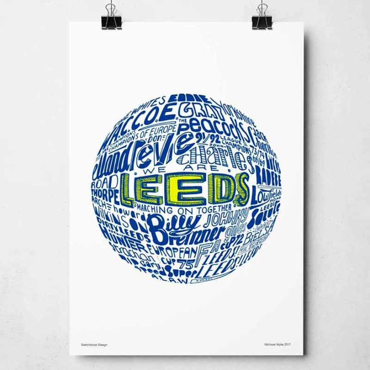 Leeds United football print. Hand-drawn football typography print from Sketchbook Design