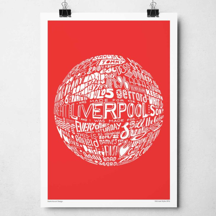 Liverpool Football print from Sketchbook Design Hand-drawn typography print featuring the history of Liverpool Football Club