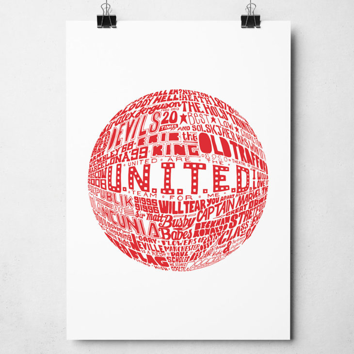 Manchester United Football Print. Hand drawn football typography design from Sketchbook Design