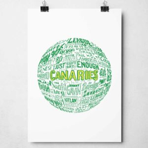 Norwich City Football Print. Hand drawn football typography print from Sketchbook Design