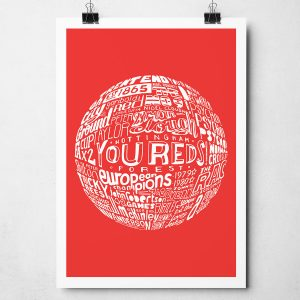 Nottingham Forest Football Print. Hand drawn football typography artwork from Sketchbook Design
