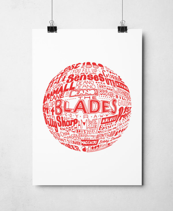 Sheffield United Football Print. Hand drawn typography football print by Sketchbook Design