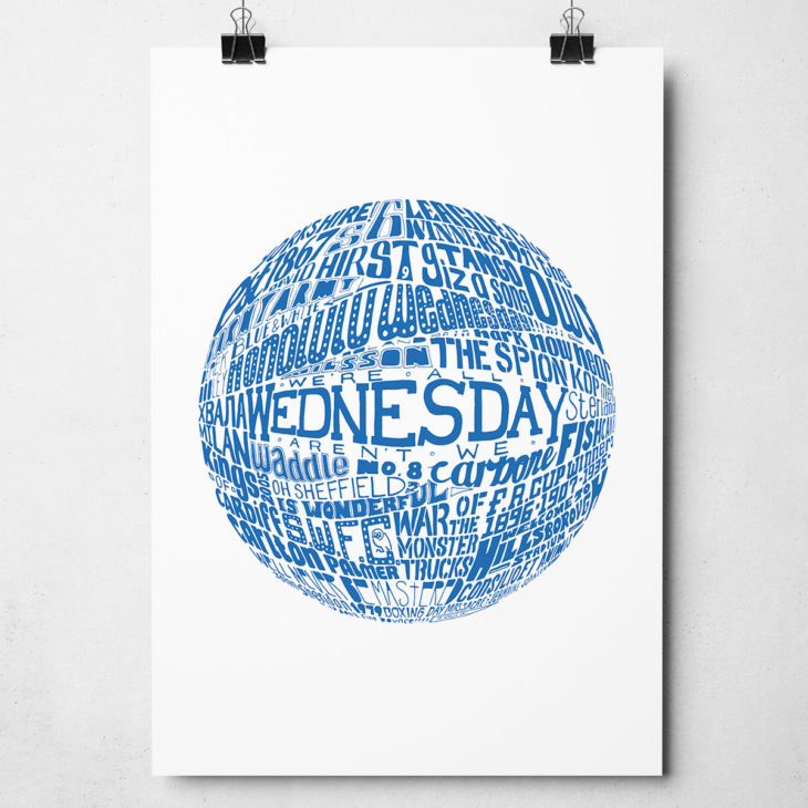 Sheffield Wednesday football print. Hand drawn typography artwork from Sketchbook Design