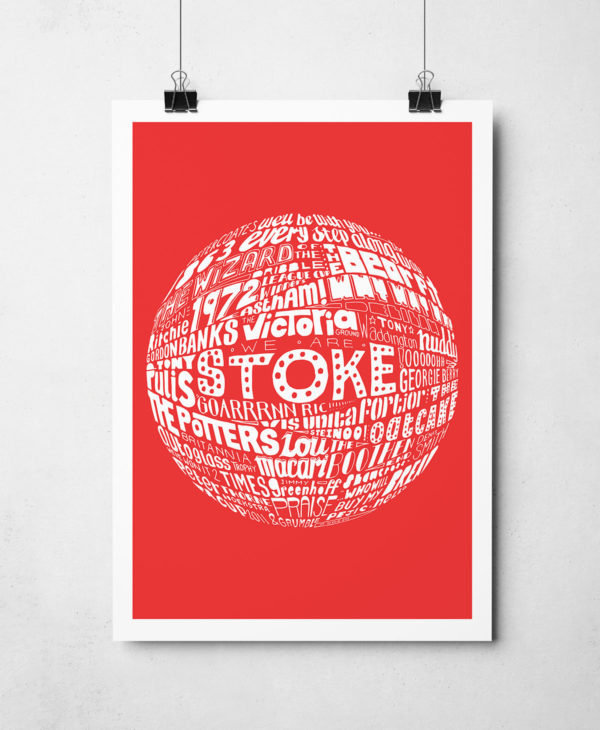 Stoke City football print. Hand drawn football typography design from Sketchbook Design