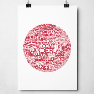 Sunderland football print. Hand drawn football typography design from Sketchbook Design