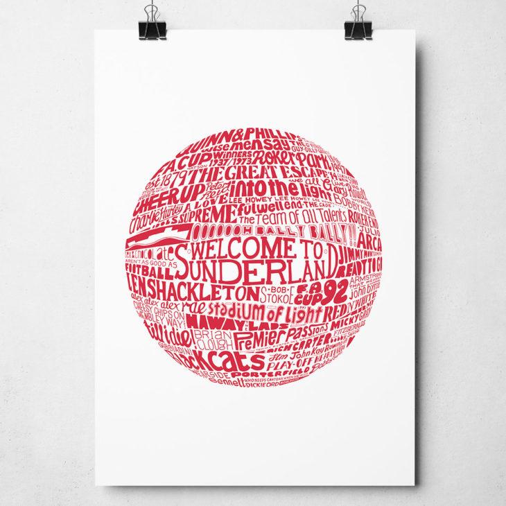 Sunderland football print. Hand drawn football typography design from Sketchbook Design
