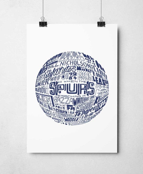 Tottenham Hotspur football print. Hand drawn football typography artwork by Sketchbook Design