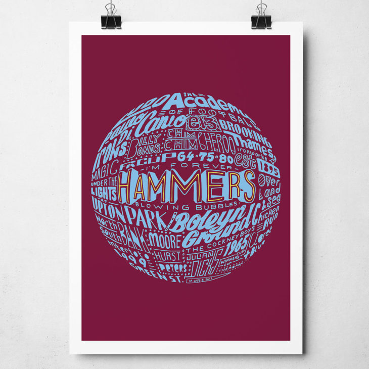 West Ham United football print. Hand drawn football typography artwork from Sketchbook Design