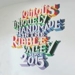 Hand-painted 3D Typography wall mural commission at Loulou's Bakery in Lancashire