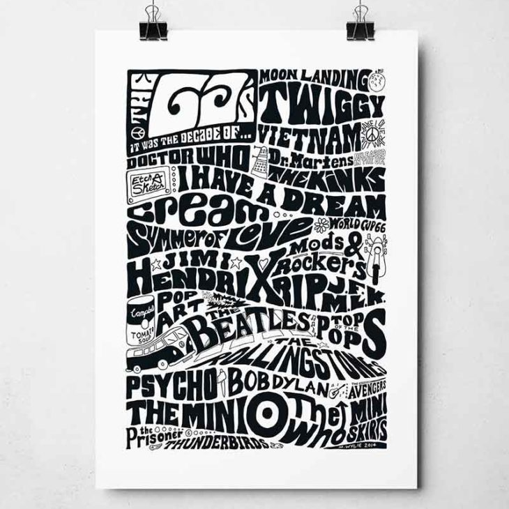 Hand-drawn 1960s decade print from Sketchbook Design. Typography print inspired by pop culture of the Sixties.