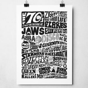 1970s Decade Print inspired by 1970s Pop Culture. Hand-drawn typography artwork from Sketchbook Design