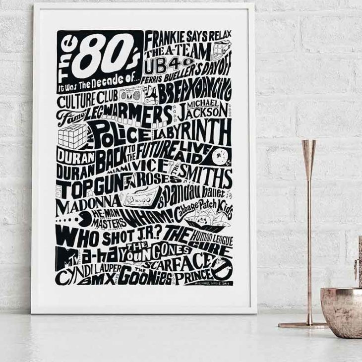 1980s Decade Print inspired by events in pop culture during the Eighties. Typography print from Sketchbook Design