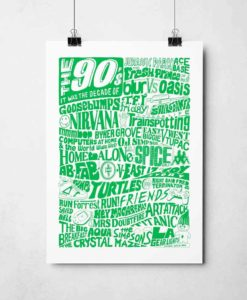 1990s Decade Print by Sketchbook Design. Hand-drawn 90s decades poster featuring inspiration from some of the best 90s pop culture