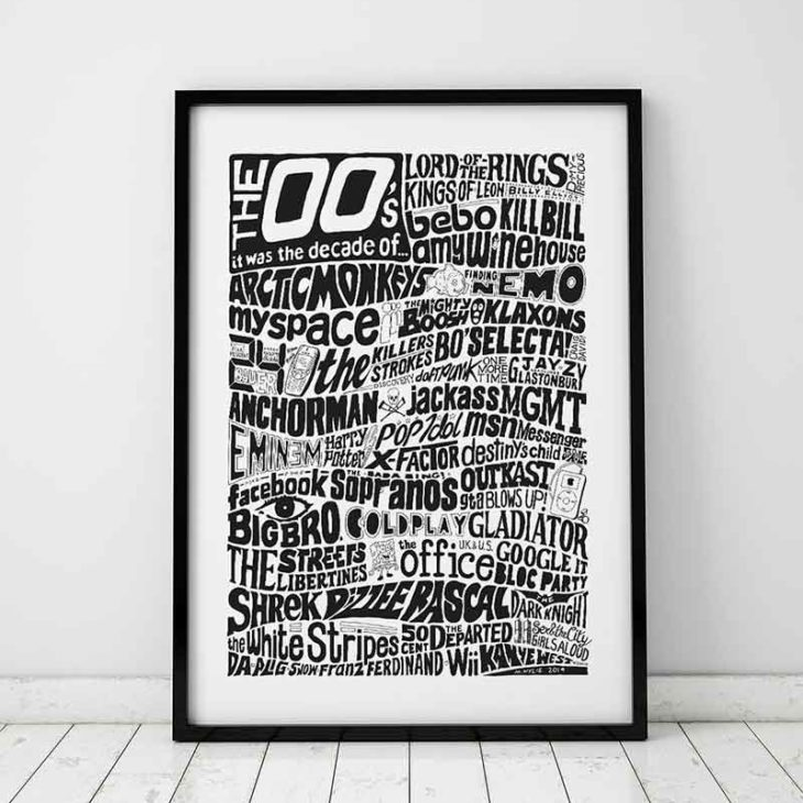 2000s Decade Print from Sketchbook Design. Hand-drawn typography print that is inspired by music, tv, film and events from the 2000s.