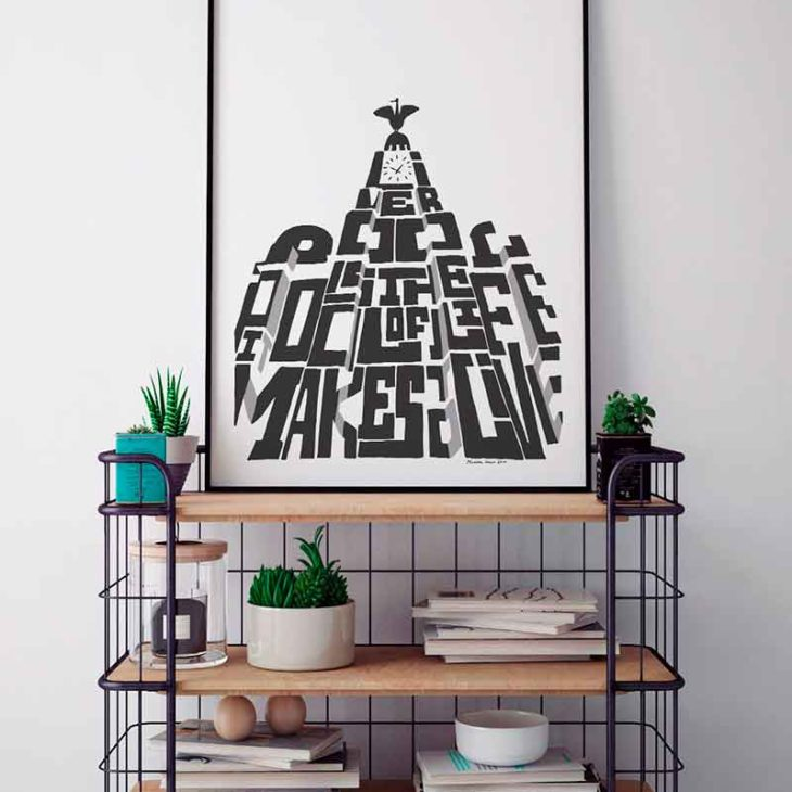 """Liverpool Liver Building print featuring the iconic building and the quote from Carl Jung, """"Liverpool is the Pool of Life, it makes to live"""". The hand-drawn design from Sketchbook Design is available as an A4 or A3 print."""