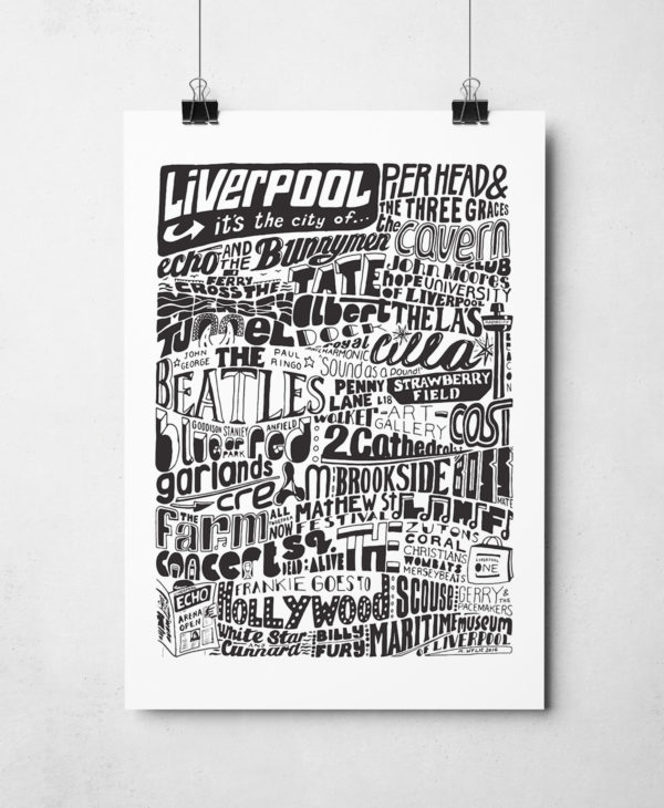 Liverpool typography print features iconic bands, music, people and places that make Liverpool famous. The hand-drawn typography print from Sketchbook Design is a perfect Liverpool gift and is available as an A4 or A3 print.