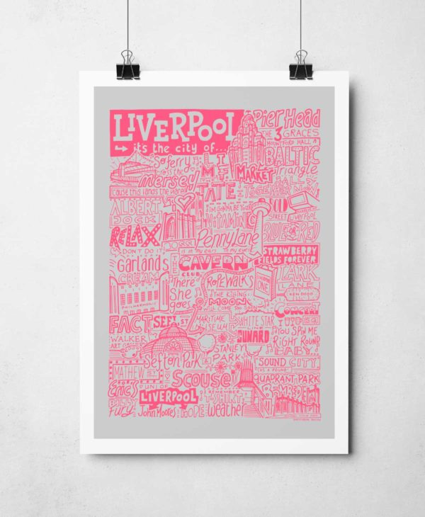 Liverpool Landmarks Print features iconic bands, music, people and places that make Liverpool famous. The hand-drawn typography print from Sketchbook Design is a perfect Liverpool gift and is available as an A4 or A3 print.