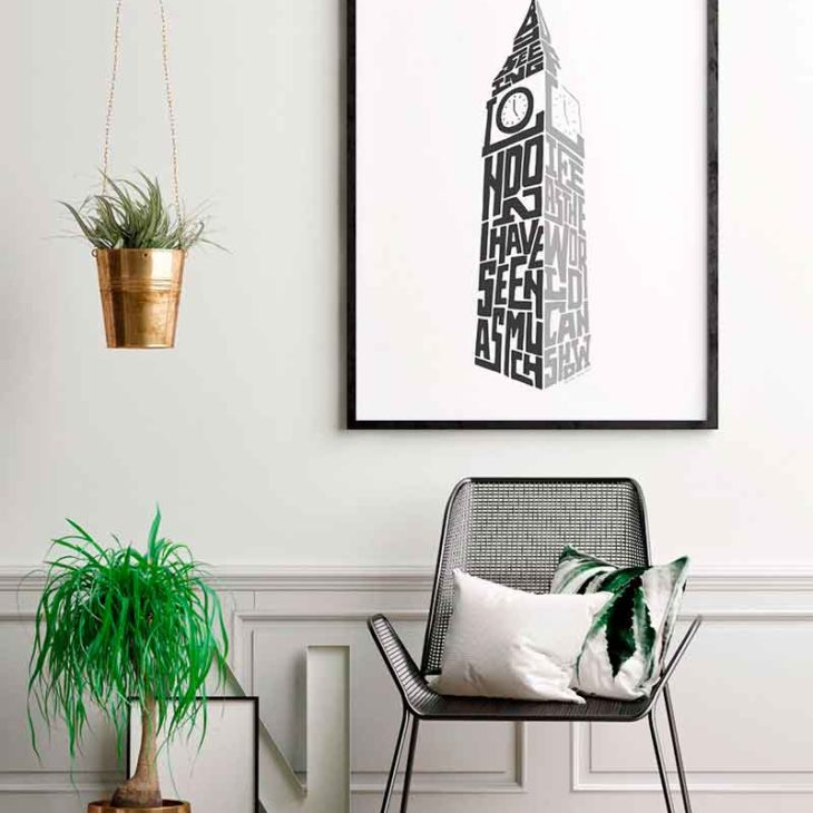 """London Big Ben Print. Typography print from Sketchbook Design incorporating the statement from Samuel Johnson, """"By seeing London I have seen as much of life as the world can show"""". The print is available as an A4 or A3 print."""