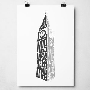 "London Big Ben Print. Typography print from Sketchbook Design incorporating the statement from Samuel Johnson, ""By seeing London I have seen as much of life as the world can show"". The print is available as an A4 or A3 print."