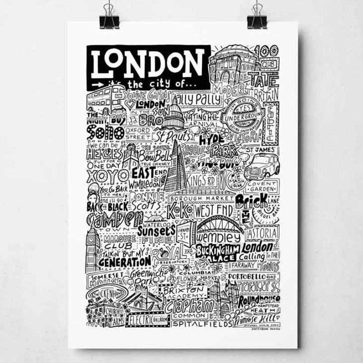 Hand-drawn London Landmarks Print from Sketchbook Design. The print features iconic locations, music and people to come out of London. The print is available in a range of colours and as an A4 or A3 print.