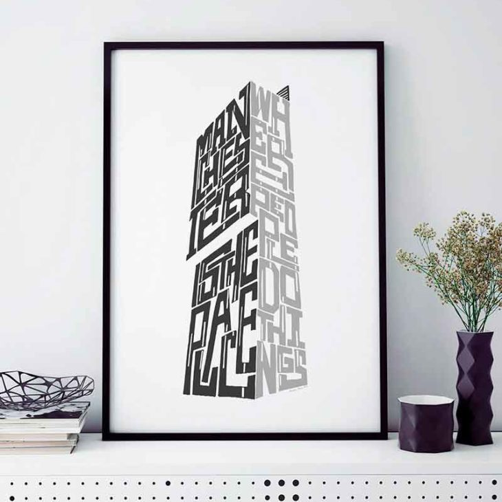 """Manchester Beetham Tower print featuring the quote """"Manchester is the place where people do things...."""" Hand-drawn Manchester Typography design from Sketchbook Design. The print is available as an A4 or A3 print."""