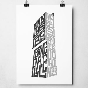 "Manchester Beetham Tower print featuring the quote ""Manchester is the place where people do things...."" Hand-drawn Manchester Typography design from Sketchbook Design. The print is available as an A4 or A3 print."