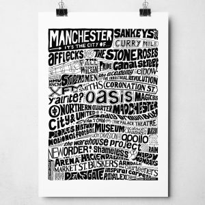Manchester typography print. Hand-drawn typography print from Sketchbook Design featuring bands, music, people and places from Manchester. The print is available in a range of colours and as an A4 or A3 print.