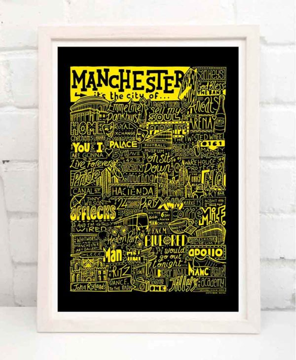 Manchester landmarks print. Hand-drawn typography print from Sketchbook Design featuring bands, music, people and places from Manchester. The print is available in a range of colours and as an A4 or A3 print.