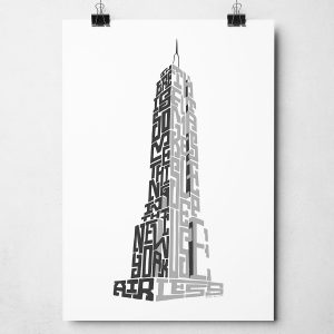 "New York Empire State Building print. Hand drawn typography print from Sketchbook Design featuring the quote ""There is something in the New York air that makes sleep useless"". The print is available as an A4 or A3 print."
