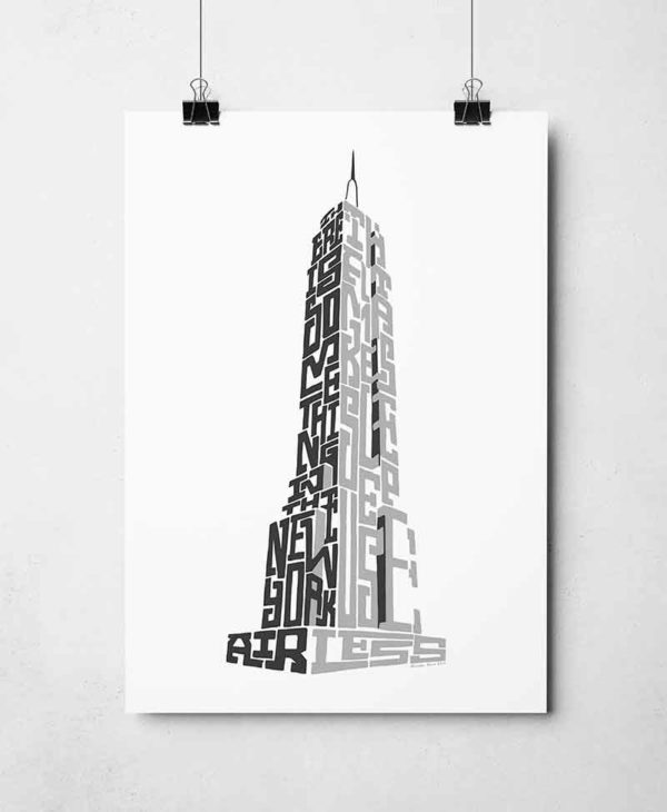 """New York Empire State Building print. Hand drawn typography print from Sketchbook Design featuring the quote """"There is something in the New York air that makes sleep useless"""". The print is available as an A4 or A3 print."""