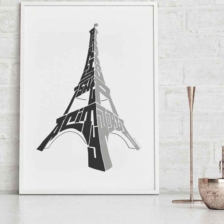 """Paris Eiffel Tower print. Hand-drawn typography print featuring the quote """"Paris isn't a city, it's a world"""". The perfect print to remember a trip to Paris. The print is available as an A4 or A3 Print."""