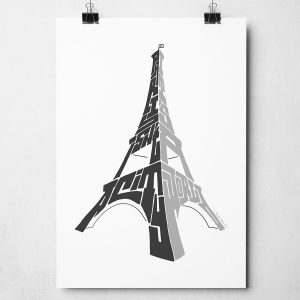 "Paris Eiffel Tower print. Hand-drawn typography print featuring the quote ""Paris isn't a city, it's a world"". The perfect print to remember a trip to Paris. The print is available as an A4 or A3 Print."