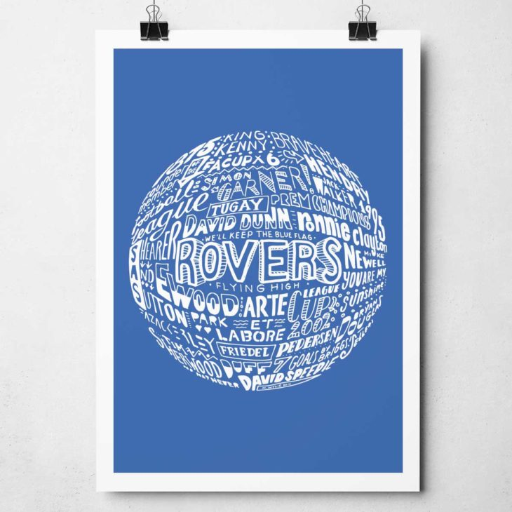 Hand-drawn Blackburn Rovers Football Print from Sketchbook Design