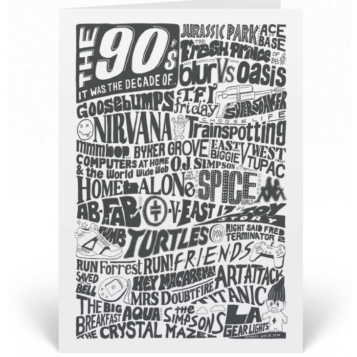 A 1990s Birthday Card featuring a hand-drawn typography design that illustrates the highlights of the Nineties.