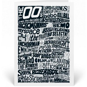 A 2000s Birthday Card featuring a hand-drawn typography design that illustrates the highlights of the decade.