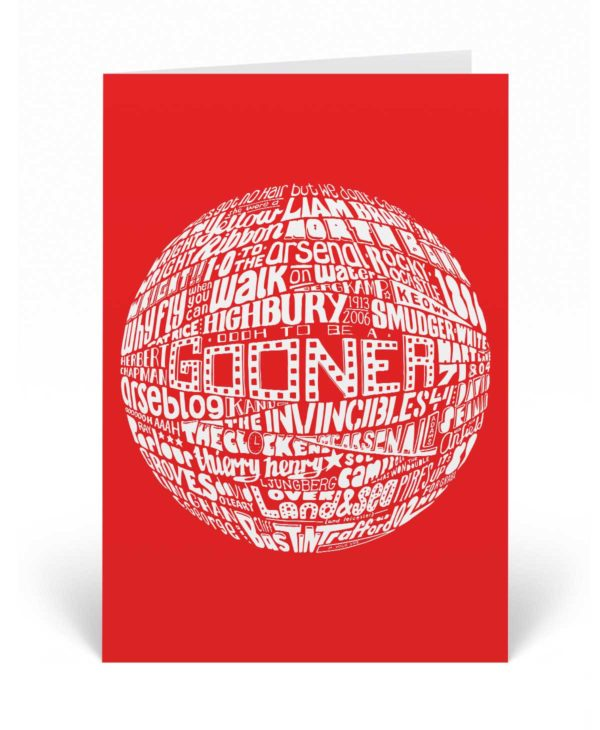 Arsenal birthday card featuring a hand-drawn typography design inspired by Arsenal Football Club