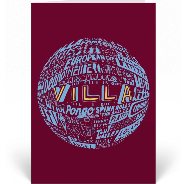 Aston Villa Birthday Card featuring a hand-drawn typography design inspired by Aston Villa football club