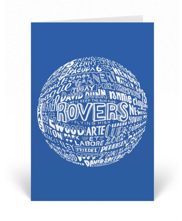 Blackburn Rovers Birthday Card featuring hand-drawn typography design inspired by Blackburn Rovers football club